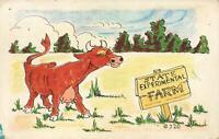 COMIC KROMEKOLOR HAPPY COW LIVES in STATE EXPERIMENTAL FARM POSTCARD - UNUSED