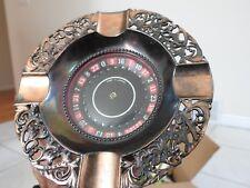 vintage Las Vegas ROULETTE WHEEL ASHTRAY spins, works push button MCM