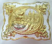 """Trinket Box footed ornate Jewelry gold & white roses 4.5"""" x 2.5"""" Velvet Lined"""