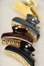 LOT OF 4 HAIR CLAW JAW CLIP COMB CLAMP HOLDER BROWN GREY WOOD GRAIN BLACK GOLD