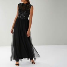 COAST Marnie Black Sequin Tulle Evening Maxi Dress Ball Gown Size 12 Christmas