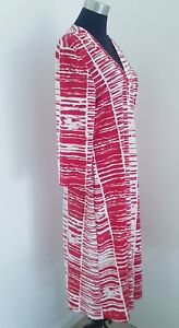 Rockmans Ladies Dress Red and White calf length Plus size 18 Beautiful drape.