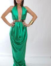 KRIZIA Green Open Back Silk Draped Halter Gown Dress Size 40