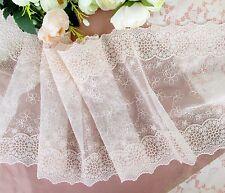 21 cm width Pretty Peach Puff Embroidery Mesh Lace Trim
