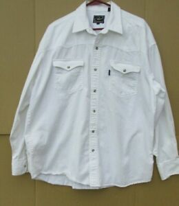 Roper Western Pearl Snap Button Up Shirt Mens XL Steer Off White