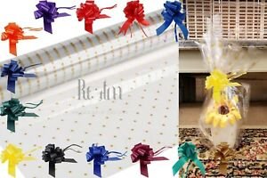 Gold Dots Clear Sea Through Cellophane Wrapping Gift Paper Plus Bow 30mm