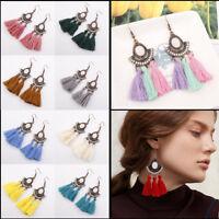 New Fashion Women Pearl Bohemia Earrings Tassel Fringe Boho Ear Hook Drop Dangle