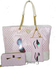 BETSEY JOHNSON BLUSH LASER CUT HEARTS/GOLD BACKING/ SUNGLASS CASE/ SATCHEL TOTE