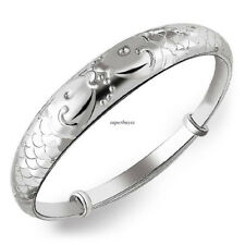 Fashion Women 925 Sterling Silver Charm Fish Chain Bangle Bracelet Jewelry Gift