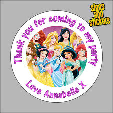 40 Personalised Childrens Party Stickers Disney Princess Girls, Princesses pink