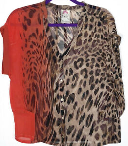 YOANA BARASCHI ANTHROPOLOGIE LEOPARD RED SILK BLOUSE shirt top s