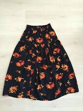 M&S SKIRT SIZE 12 MAXI GYPSY BOHO FESTIVAL NAVY FLORAL RUCHED ELASTICATED WAIST
