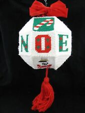 Vtg LARGE 3D Needlepoint Noel Xmas Ball Ornament Hanging Door Display Beaded Big