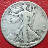 1929-S Walking Liberty Half Dollar , Circulated , 90% Silver US Coin