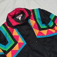 Vintage Obermeyer Ski Jacket Coat Womens Size 12 Bright Print Swirl