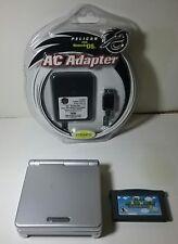 Nintendo Game Boy Advance SP Platinum Silver Handheld System w/ super Mario 2