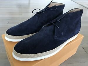 600$ Tod's Blue Polacco Gomma Rafia Boots Size US 12.5 Made in Italy