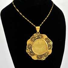 22K Old Turkey Gold Coin Set Within Fancy Handmade 21k Solid Gold Bezel Pendant