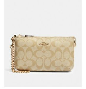 Coach Large Wristlet in Signature Canvas with Chain Khaki / Chalk F88035