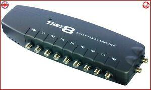 F TYPE 8 WAY TV AERIAL BOOSTER BOX SPLITTER AMPLIFIER, FREEVIEW, HD, 4G READY