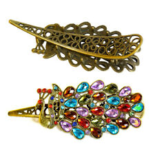 Fashion Women Vintage Crystal Rhinestone Peacock Hair Barrette Clip