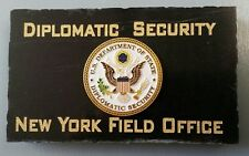 Diplomatic Security New York Field Office DOS DSS Emblem Marble Desk Plaque