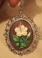 Lovely Picot Rim Violet & Green Accented Hibiscus Flower Cameo Pendant Necklace