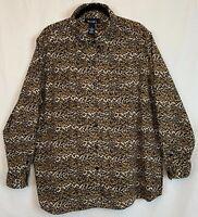 Denim & Co Cheetah Print Moleskin Shirt Long Sleeve Split Hem Stretch Size 2X