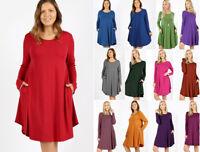 1X 2X 3X Women's Casual Long Sleeve T-Shirt Tunic Dress Basic Soft Knit Solids