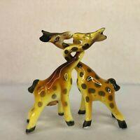 Vintage Kissing Giraffe Salt & Pepper Shakers Victoria Ceramics