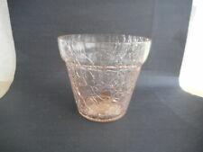 Cranberry Crackle Glass Planter  ,3 1/4  inch High   Pot Shape    Hosley