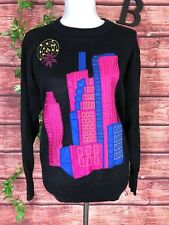 Janine Vintage Sweater size Large Pink Blue Sequin New York City Scape Christmas