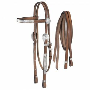 Tough 1 Dark Oil Leather McCoy Collection Pony Sized Fancy Headstall and Reins
