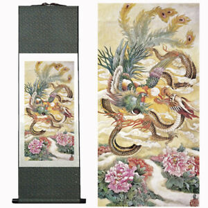 Chinese Dragon and Phoenix on Silk Scroll Wall Hanging New