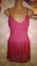 SAY WHAT? PINK CROCHET SPAGHETTI STRAP CRUISE/CLUBBING/PROM DRESS SIZE M