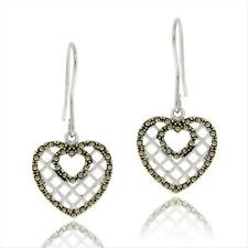 925 Silver Marcasite Heart Dangle Earrings