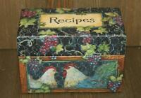 Main Street Press Recipes Box with Sealed Dividers Chickens Rooster Farmhouse D1