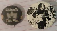 Lot of 2 RARE John Lennon buttons pins Beatles Lennon Guitar Listen to this Pin!