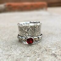 Garnet Ring 925 Sterling Silver Spinner Ring Meditation Statement Jewelry A226