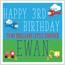Personalised Boys Birthday card, Helicopter Digger Vehicles 1st 2nd 3rd 4th 5th