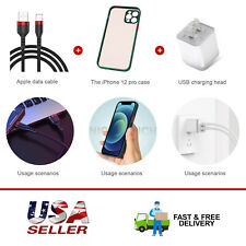 Ac Wall Charger+Black Usb Charging Cable+Shockproof Phone Case For iPhone 12 Pro