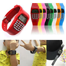 kid Boys Girls LCD Digital Screen Calculator Watch Waterproof Date Silicone Band