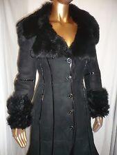 Karen Millen 8 10 in montone shearling Lussuoso Nero Cappotto Ltd Edition 8 10
