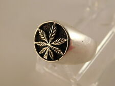 VINTAGE CANNABIS MARIJUANA LEAF RING STERLING SILVER STEAM PUNK HIP HOP SZ 8 1/2