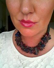bisutería Joya Mujer Cadena de madera negro lila 40cm largos Collar Cadena #33