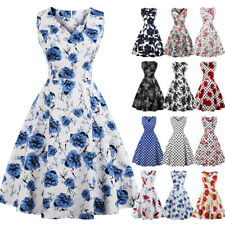Plus Size Womens 1950s Vintage Rockabilly Floral Retro Evening Prom Swing Dress