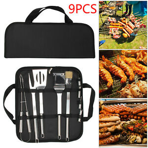 9 PCS Stainless Steel BBQ Barbecue Set Utensil Outdoor Cooking Grill Tools Kit