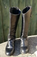 Women Long Black Leather Riding Boots Equestrian Horse Just Togs Wide Leg Size 7