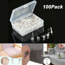 100Pcs Clear Heads Twist Pins for Upholstery Slipcovers and Bedskirts Screw Nail