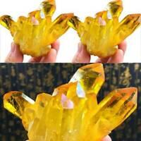 Yellow Nature Quartz Crystal Titanium Cluster Mineral Specimen Reiki Healing.M97